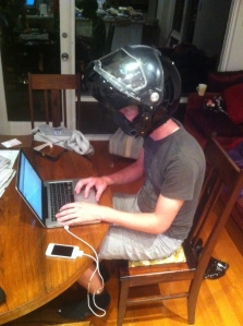 Testing out the fit of the helmet whilst writing this bog